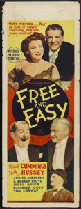 "Movie Posters:Comedy, Free and Easy (MGM, 1941). Australian Daybill (15"" X 39.5""). Comedy...."