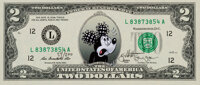 Jeff Gillette (20th Century) COVID Mickey (2nd Wave), 2020 Serigraph in colors on $2 dollar bill 2-5/8 x 6-1/4 inches