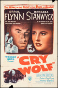 """Movie Posters:Mystery, Cry Wolf (Warner Bros., 1947). Folded, Good+. One Sheet (27"""" X 41""""). Mystery.. ..."""