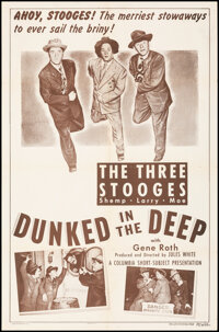 """The Three Stooges in Dunked in the Deep (Columbia, 1949). Folded, Fine/Very Fine. One Sheet (27"""" X 41""""). Comed..."""