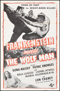 """Movie Posters:Horror, Frankenstein Meets the Wolf Man (Universal, R-1960s). Folded, Very Fine+. Military One Sheet (27"""" X 41""""). Horror.. ..."""