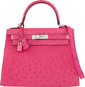 Luxury Accessories:Bags, Hermès 28cm Rose Tyrien Ostrich Sellier Kelly Bag with Pa...
