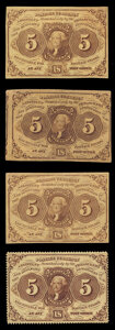 Fr. 1229 5¢ First Issue About New; Fr. 1230 5¢ First Issue Very Fine or Better (3)