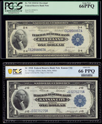 Fr. 719 $1 1918 Federal Reserve Bank Note PCGS Gem New 66PPQ; Fr. 739 $1 1918 Federal Reserve Bank Note PCGS Banknote Ge...