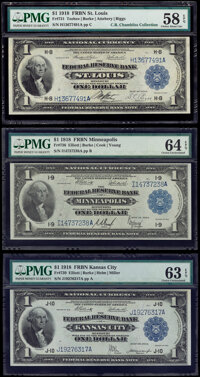 $1 1918 Federal Reserve Bank Notes Three Different Districts PMG Graded. St. Louis Fr. 731 Choice About Unc 58 EPQ;...