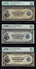 1918 $5 Federal Reserve Bank Notes Three Different Districts PMG Graded. New York Fr. 782 Very Fine 25; Philadelphia...