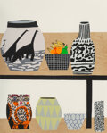 Prints & Multiples, Jonas Wood (b. 1977). Shelf Still Life, 2018. Lithograph and silkscreen in colors on wove paper. 32 ...