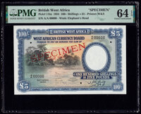 British West Africa West African Currency Board 100 Shillings = 5 Pounds 26.4.1954 Pick 11bs Specimen PMG Choice U