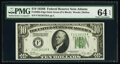 Fr. 2002-F $10 1928B Federal Reserve Note. PMG Choice Uncirculated 64 EPQ