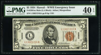 Fr. 2301 $5 1934 Mule Hawaii Federal Reserve Note. PMG Extremely Fine 40 EPQ
