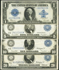Fr. 237 $1 1923 Silver Certificate Extremely Fine; Fr. 859b $5 1914 Federal Reserve Note Very Fine; Fr. 919b $10 191...