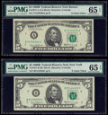 Small Size:Federal Reserve Notes, Fr. 1971-A; B $5 1969B Federal Reserve Note. PMG Gem Uncirculated 65 EPQ.. ... (Total: 2 notes)