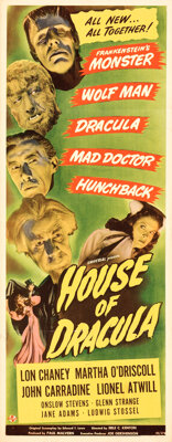 """House of Dracula (Universal, 1945, Realart, R-1950). Folded, Very Fine-. Insert (14"""" X 36"""") and One Sheet (27&..."""