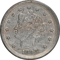 1893 5C Liberty Nickel -- Double Struck Flipover, Cleaned -- NGC Details. AU
