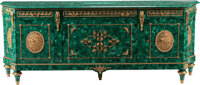 A Large French Transitional-Style Malachite Veneered Four-Door Buffet with Gilt Bronze Mounts 37-1/2 x 97-1/2 x 21