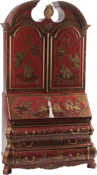 A Continental Red Lacquer Bookcase Cabinet in Two Parts with Gilt Chinoiserie Scenes 97 x 56 x 25 inches (246.4 x 142.2...