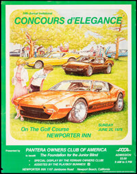 Concours D'Elegance Poster (Center Line Racing Wheels, 1978). Rolled, Very Fine-. Pantera Owners Club of American Poster...