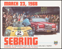"""Sebring Race Poster (Walter R. Haessner and Asso., 1967). Rolled, Very Fine+. Poster (20"""" X 29.5"""") Michael Tur..."""