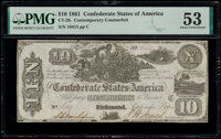 CT29/237A Counterfeit $10 1861 PMG About Uncirculated 53