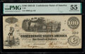 """Confederate Notes:1862 Issues, """"Manuscript Re-Issued Houston, Texas"""" T40 $100 1862 PF-2 C..."""