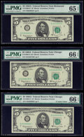 Small Size:Federal Reserve Notes, Fr. 1968-E*; G; G* $5 1963A Federal Reserve Notes. PMG Graded Gem Uncirculated 65 EPQ; Gem Uncirculated 66 EPQ (2).. ... (Total: 3 notes)