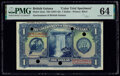British Guiana Government of British Guiana 1 Dollar ND (1937-42) 12cts Color Trial Specimen PMG Choice Uncirculated 64...