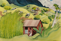 Millard Sheets (American, 1907-1989) Kalihi Valley Watercolor on paper 14-5/8 x 21-7/8 inches (37