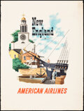 """Movie Posters:Miscellaneous, American Airlines: New England (American Airlines, 1950s). Rolled, Fine/Very Fine. Travel Poster (30"""" X 39.75"""") Bern Hill Ar..."""