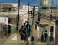 Works on Paper, Marcel Mouly (French, 1918-2008). Deux Femmes Interieur, 1953. Gouache on paper laid on board. 18-3/...