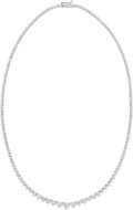 Estate Jewelry:Necklaces, Diamond, White Gold Necklace Stones: Full-cut ...