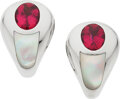 Estate Jewelry:Earrings, Mauboussin Tourmaline, Mother-of-Pearl, White Gold Earring...