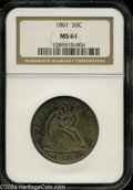 Seated Half Dollars: , 1861 MS61 NGC. ...