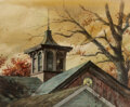 Works on Paper, Victor Olson (American, 1924-2007). Steeple in Autumn. Watercolor on paper. 18-1/2 x 22-1/2 inches (...