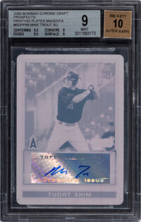 2009 Bowman Chrome Draft Prospects Mike Trout (Printing Plates Magenta) #BDPP89 BGS Mint 9, Auto 10 - #'d 1 of 1!