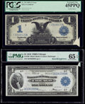 Error Notes:Large Size Errors, Printed Foldover Error Fr. 235 $1 1899 Silver Certificate PCGS Extremely Fine 45PPQ;. Butterfly Fold Error Fr. 729 $1 1918... (Total: 2 notes)