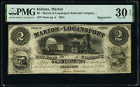 Marion, IN- Marion and Logansport Railroad Company $2 Jan. 2, 1854 Wolka 1510-04 PMG Very Fine 30 EPQ