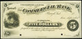 Brazil, IN- Commercial Bank $5 Certificate of Deposit 18__ circa 1883-84 Remainder Choice About Uncirculated, 2 POCs...