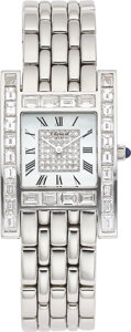 Timepieces:Wristwatch, Chopard, 18k white gold and diamond wristwatch, Your Hour. RThe rectangular case set with baguette cut diamonds an