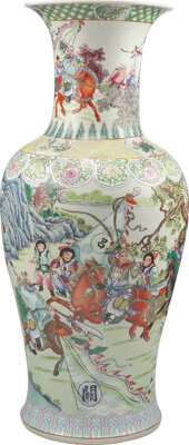 A Chinese Famille Rose Vase Marks: six-character Qianlong mark to base 36-1/2 x 15 inches (92.7 x 38.1 cm)(vase)