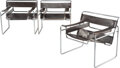 Furniture, Marcel Breuer (Hungarian/American , 1902-1981). Three Wassily Chairs, mid 20th century, Stendig co.. L...
