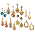 Estate Jewelry:Earrings, Victorian Diamond, Ruby, Turquoise, Coral, Seed Pearl, Gold, Gold-Filled Earrings. ... (Total: 8 Items)