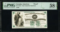 Americus, GA- City Council of Americus 25¢ ____ 1st, 187_ Proof PMG Choice About Unc 58 EPQ
