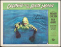 """Movie Posters:Horror, Creature from the Black Lagoon (Universal International, 1954). Fine/Very Fine. Autographed Lobby Card (11"""" X 14""""). H..."""