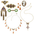 Estate Jewelry:Lots, Antique Multi-Stone, Seed Pearl, Gold Jewelry. ... (Total: 8 Items)