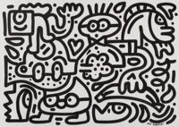Mr. Doodle (b. 1994) Banana Bash, early 21st century Ink on paper 16-1/2 x 23-1/2 inches (41.9 x
