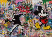 Mr. Brainwash (b. 1966) Thrower & Mickey, 2017 Acrylic and spray paint on paper 48 x 72 inches (1