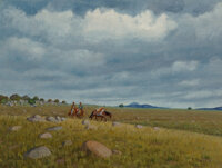 Fred Darge (American, 1900-1978) Returning Hunting Party Oil on canvasboard 12 x 16 inches (30.5 x 40.6 cm) Signed l