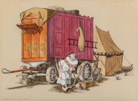 """Gerald Williamson """"Jerry"""" Bywaters (American, 1906-1989) Circus Wagon with Clown, 1935 Watercolor and pencil o..."""