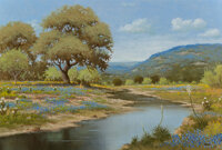 Jerry Ruthven (American, b. 1947) Bluebonnet Stream Oil on canvas 24 x 36 inches (61.0 x 91.4 cm) Signed lower right
