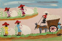 Clementine Hunter (American, 1886-1988) Picking Cotton, 1969 Oil on board 16 x 24 inches (40.6 x 61.0 cm) Initialed